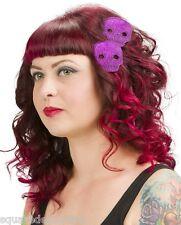 60056 Purple Glitter Skull Hair Clips Sourpuss Halloween Punk Barrette Set of 2