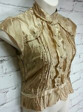 Miss Shop 10 Top Cap Sleeves Gold Button Up Fitted Blouse Crinkle Finish