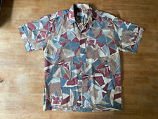 Mens True Vintage 90s Shirt Silk Short Sleeve Abstract Multicolor Size L Funky