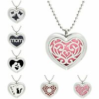 1pc Stainless Heart Diffuser Locket Pendant Aroma Essential Oil Perfume Necklace