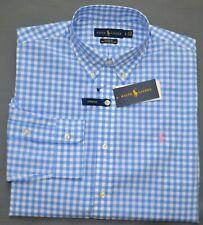 New S M L XL POLO RALPH LAUREN Mens button down Shirt blue checks Long Sleeve