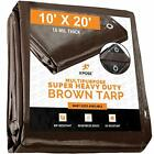 10' x 20' Super Heavy Duty 16 Mil Brown Poly Tarp Cover,Thick Waterproof, UV Res