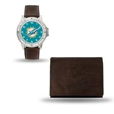 Miami Dolphins Watch and Wallet Gift Set - NFL Brown Leather Stainless Steel