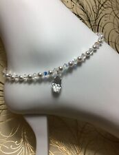 Handmade Clear Pearl Swarovski Element Ankle Bracelet/Anklet + Free Toe Ring USA