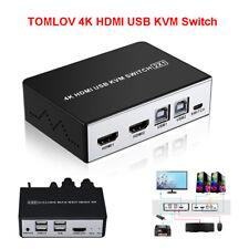 TOMLOV 4K HDMI USB KVM Hotkey Schalter Wähler Adapter Switch Box für PC Sharing