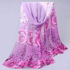Hot Fashion Womens Elegant Rose Chiffon Scarves Wraps Ladies Soomth Scarf Shawl