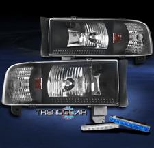 1994-2001 DODGE RAM TRUCK BLACK CRYSTAL HEAD LIGHT W/CORNER+BLUE DRL SIGNAL KIT