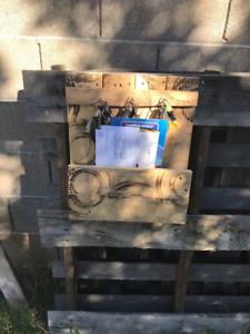 Reclaimed Wood Wall Mount Letter Holder Shelf Rustic unique key hooks on top