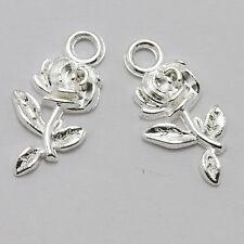 30pcs Retro Nice Tibetan silver Rose Flower Charm Pendant beaded Jewelry Finding