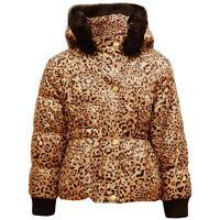 NEW Girls Kids Leopard Fur Hood Padded Winter Coat Jacket School Age 2 3 4 5 6 7