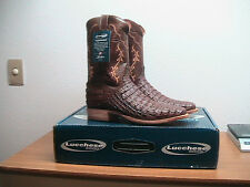 NEW Mens 11 D Lucchese Brown Hornback Caiman Crocodile Square Toe Cowboy Boots