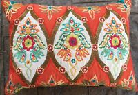 ORANGE & Turquoise INDIA BEADED THROW PILLOW Embroidered Flowers 16x22 Stunning!
