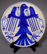 Spain Spanish Majolica Faience Plate w/ Blue Eagle Avian decoration ca. 20th c.