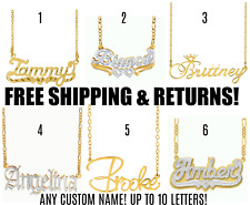 Personalized FINE Sterling Silver 14K Gold Plate ANY Name Plate Necklace + Chain