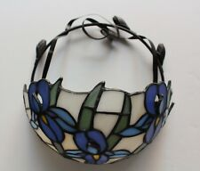 PartyLite Iris Flower Tiffany Style Stained Glass Votive Wall Sconce