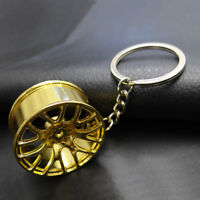 Car Auto Wheel Hub Gun Cool Metal Keychain Car Key Chain Keyfob Key Pendant Gold