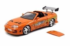 JADA THE FAST AND FURIOUS BRIAN'S TOYOTA SUPRA 1/24 DIECAST CAR ORANGE
