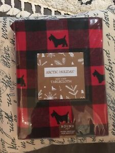 "New Scottie Dogs Arctic Holiday Red Black Plaid Tablecloth 70"" Round Christmas"