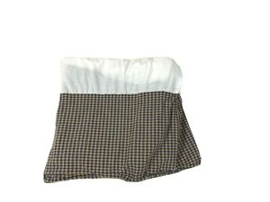 "Nobility Full / Double Size Bedskirt 13"" Cotton Plaid Check Navy Blue Tan Red"
