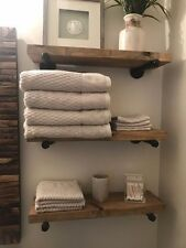 "8"" Deep (set of 3) Industrial Floating Shelves, Rustic Shelves, Pipe Shelf"
