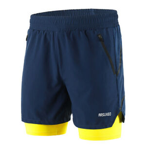 Men 2 in 1 Running Shorts Quick Drying Breathable Active Training Exercise F1U8