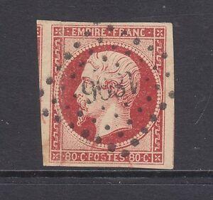 France Sc 19 used. 1854 80c lake on yellowish imperf Napoleon III