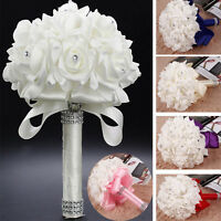 Flower Wedding Ivory Rose Crystal Bouquet Bride Bridesmaid Flower Girls Holy