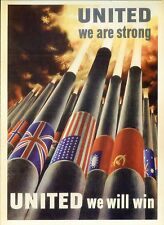 PICTURE POSTCARD OF WORLD WAR II POSTER UNITED WE ARE STRONG UNITED WE WILL WIN