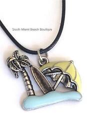 Silver Beach Necklace Enamel Surfboard Palm Tree Umbrella Ocean Surfer Plated