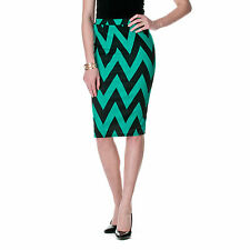 MOA Collection by Riverberry Chevron Stretch Knit Pencil Skirt