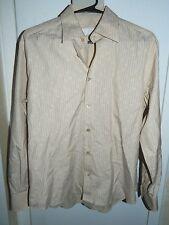 Prada Made in Italy Beige Blue Pin Stripe 40/15 2/4 or 1/2 Medium Men's Shirt LS