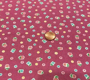 """Tiny Posies&Dots* Blue Pink Yellow Green*on Plum *Penny Rose* 100% Cotton 22""""x8"""""""