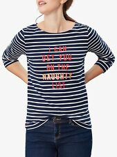 Joules Womens Harbour Print Long Sleeve Jersey Top - Naughty List. Size 18. NWT