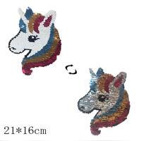 Unicornio reversible cambio color lentejuelas coser en parches para ropa ~QA