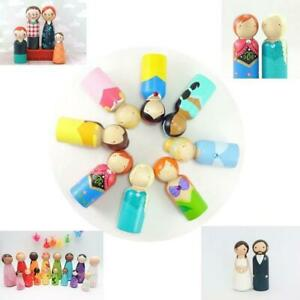40pc Wood Peg Doll Little People Baby Kids Child Wooden Peg Dolls DIY Craft