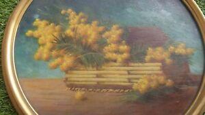 Tableau nature morte huile sur panneau bois décor bouquet de mimosa art XXe