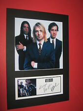 NIRVANA A4 MOUNT SIGNED REPRINT AUTOGRAPHS KURT COBAIN DAVE GROHL FOO FIGHTERS