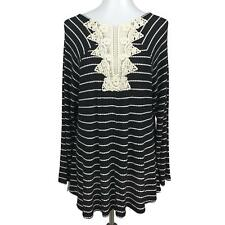 Style & Co Womens XL Long Sleeve Striped Top Lace Details Soft Knit Black Ivory
