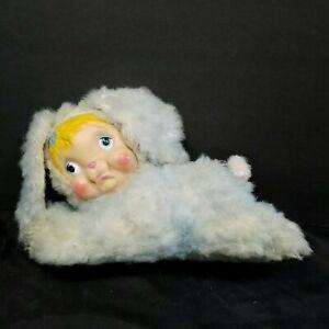 Rushton Star Creation Rubber Face Easter Bunny Blue Sad Plush Stuffed Animal