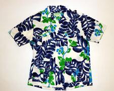 Vintage 60's Waltah Clarke's polyester Hawaiian blue tropical floral shirt Large