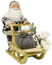 Weihnachtsmann Mika auf Holz Schlitten - Weihnachtsdeko Handgearbeitet - 45 cm