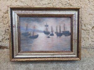"""Tableau ancien """"Marine"""" Ecole française XXe impressionniste signature illisible"""
