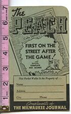 1939 THE PEACH BASEBALL SCHEDULE CHICAGO CUBS MILWAUKEE BREWERS PACKET WALLET