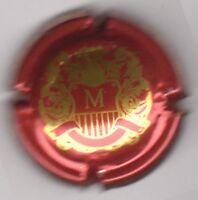 """capsule de champagne MIGNON Charles, """"M"""", bordeaux et or vif, dessin sur le côté"""