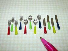 Miniature 12-Piece Set Metal Silverware,  FESTIVE HANDLES: DOLLHOUSE 1:12