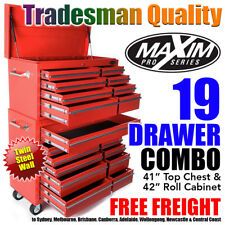 """MAXIM 42"""" 19 Drawer Red Tool Box Combo Top Chest Roll Cabinet Toolbox Storage"""