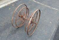 Antique Primitive Fireman Hose Reel Metal Wheels Spokes Garden Hose Reel Large