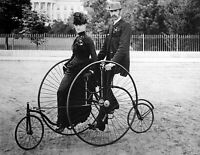 """1901 1912 Couple Seated on Bicycle for Two Vintage Photograph 8"""" x 10"""" Reprint"""