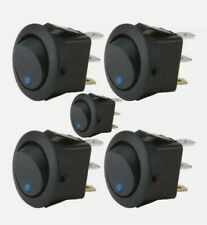 The Install Bay Ibrrsb 16 Amp No Leads Round Rocker Switch with Blue Led (5/pk)