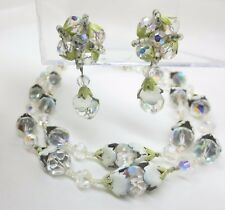 VENDOME 2 Strand Necklace Earrings Set Crystal AB Beads Enamel Bead Caps Vintage